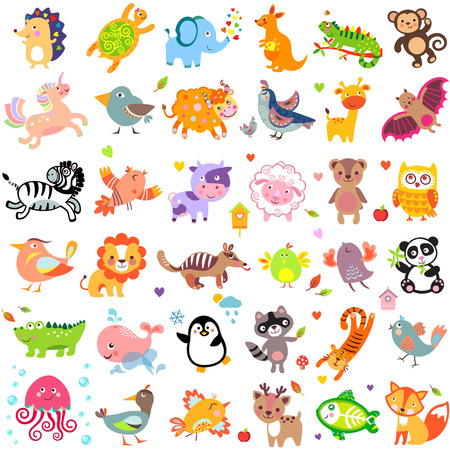 Vector illustration of cute animals and birds: Yak, quail, giraffe, vampire bat, cow, sheep, bear, owl, raccoon, hedgehog, whale, panda, lion, deer, x-ray fish, fox, dove, crow, chicken, duck, quail, crocodile, tiger, turtle, kangaroo, elephant, monkey, i Фото со стока