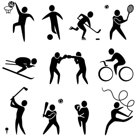 strichmännchen: Set von Sport-Icons: Basketball, Fußball, Hockey, Tennis, Skifahren, Boxen, Ringen, Radfahren, Golf, Baseball, Gymnastik. Vektor-Illustration