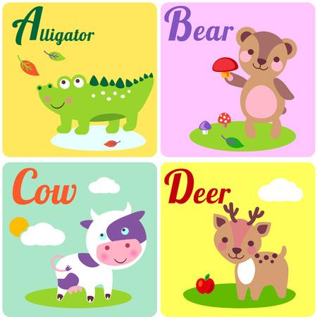 alfabeto con animales: Alfabeto zoológico lindo en el vector. A, b, c, letras d. Animales divertidos para el libro de ABC. Cocodrilo, oso, vaca y querida. Foto de archivo