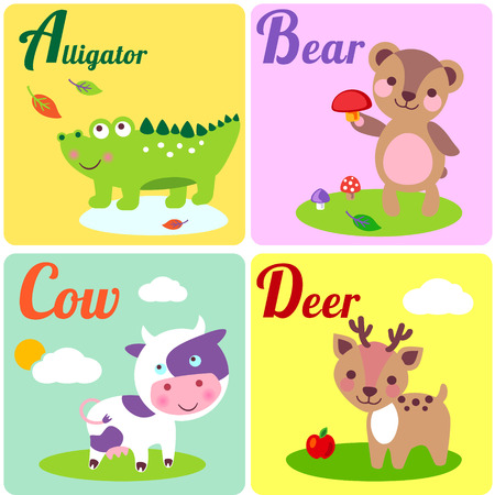 isolated animal: Cute zoo alphabet in vector. A, b, c, d letters. Funny animals for ABC book. Alligator, bear, cow and dear. Stock Photo
