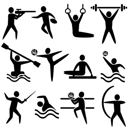 football play: Set of sports icons: shooting, rugby, gymnastics, American, football, power lifting, kayaking, canoeing, barbell, weightlifting, water polo, archery, fencing, swimming, volleyball, sports competitions
