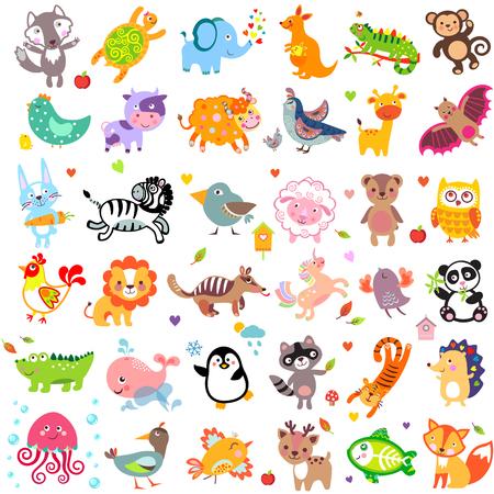 동물: 귀여운 동물과 조류의 벡터 일러스트 레이 션