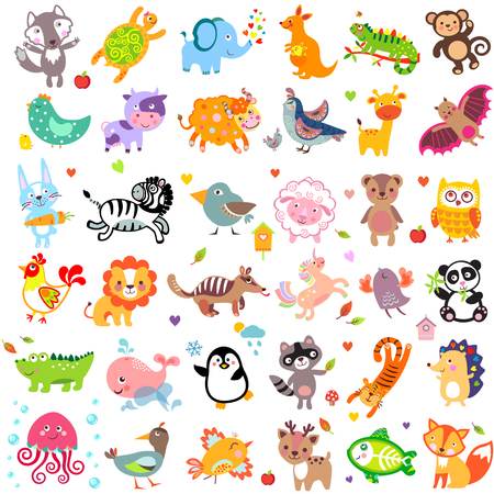 young animal: Vector illustration of cute animals and birds
