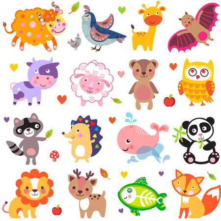 animal: 可愛的動物矢量插圖