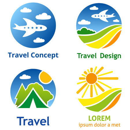 airlines: Set of travel business concept. Symbols and emblems for travel agency, airlines, tourism, adventure and expedition.