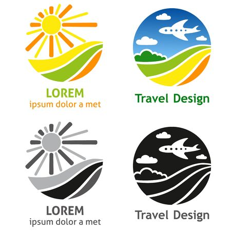 airlines: Set of company name concepts. Set of travel business concept. Symbols and emblems for travel agency, airlines, tourism, adventure and expedition.