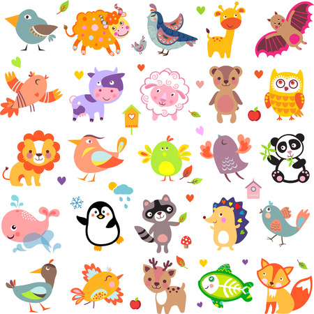 Vector illustration of cute animals and birds: Yak, quail, giraffe, vampire bat, cow, sheep, bear, owl, raccoon, hedgehog, whale, panda, lion, deer, x-ray fish, fox, dove, crow, chicken, duck, quail