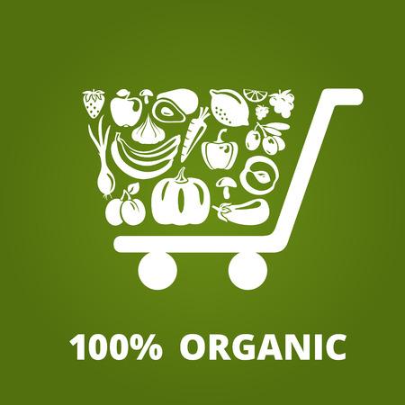 abarrotes: Carro de compras con las frutas y verduras org�nicas. ilustraci�n vectorial
