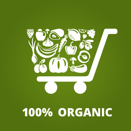 product: Shopping cart with organic fruits and vegetables. Vector illustration