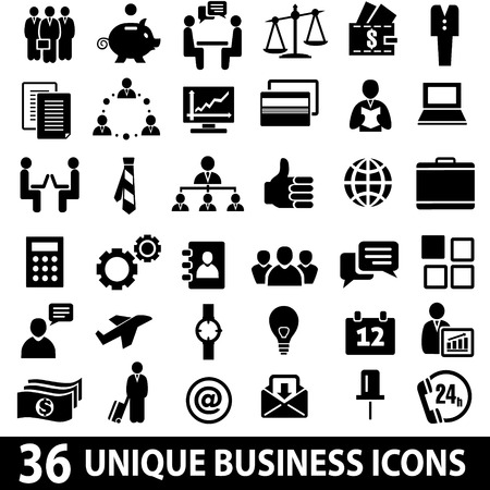 settings: Set of 36 business icons.