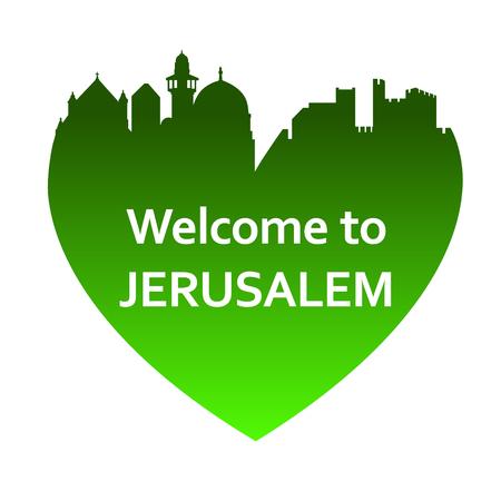jerusalem: Vector illustration of Jerusalem skyline in heart shape. Welcome to Jerusalem