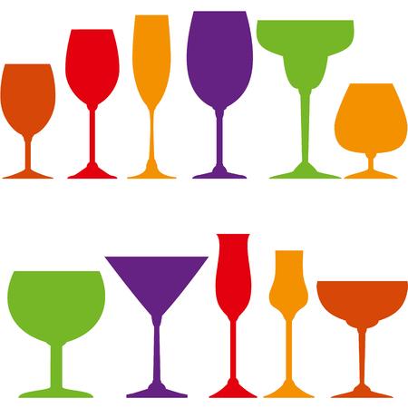 helados con palito: Vasos establecen para vino, grappa, martini, cócteles y helados.