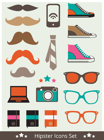 trainers: Set of Hipster Icons: trainers; mustache; sunglasses; camera; mobile phone. Vector illustration.