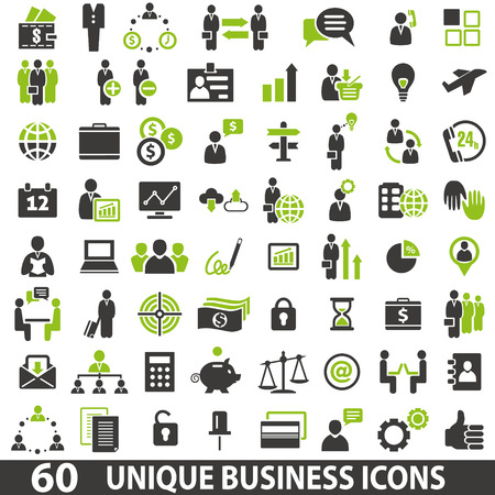 button icon: Set of 60 business icons. Illustration