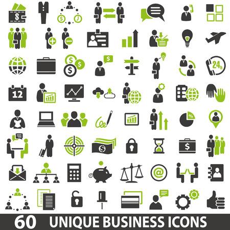 Zestaw 60 ikon biznesu. Ilustracje wektorowe
