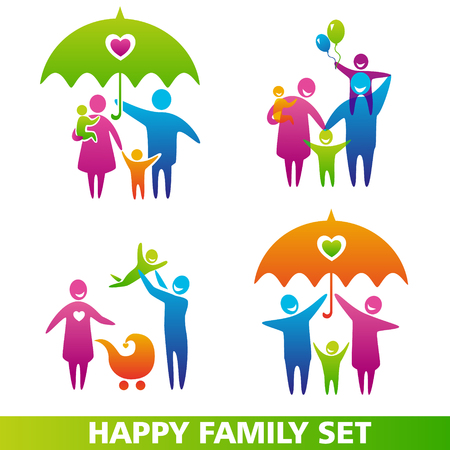 Vector set of family icons. Happy family concepts: father, mother, daughter and son together