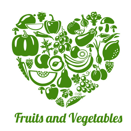 Organic food concept. Heart shape with organic vegetables and fruits icons. Vector illustration Vettoriali