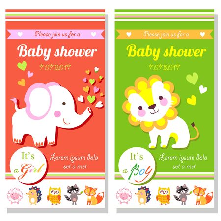 its a boy: Baby shower cards with cute lion and elephant. Its a girl and its a boy
