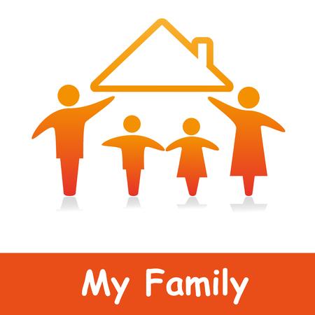 life insurance: Family logo concept. Illustration