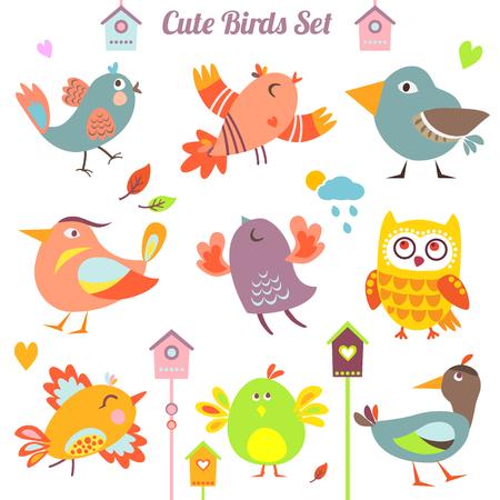 flight: Set of 9 cute birds in vector. Cartoon collection. Funny little bird family.