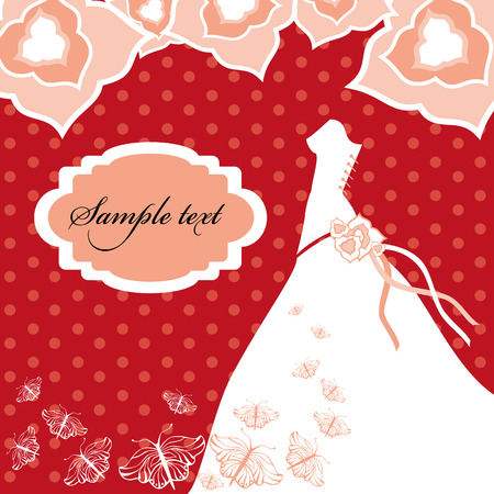 wedlock: Wedding Dress. Wedding invitation card. Illustration