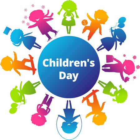 sports day: Children's Day concept. Cute children silhouettes around the World. Earth Planet with colored children silhouettes.