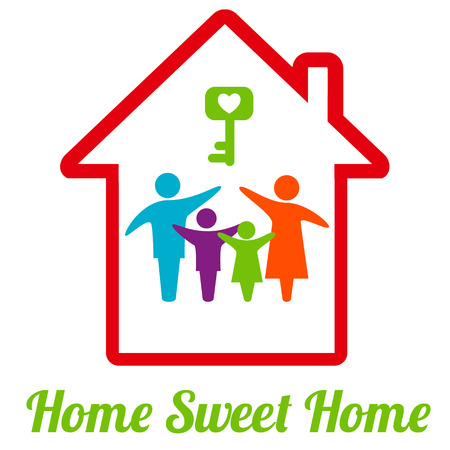 Home Sweet Home. Family logo concept. Vector illustration