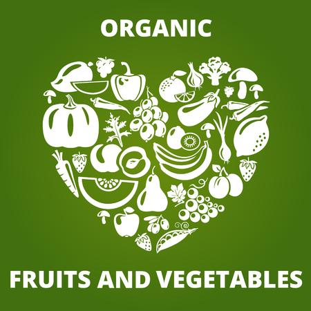 ensalada de frutas: Concepto de la comida orgánica. Forma de corazón con verduras orgánicas y frutas iconos. Ilustración vectorial