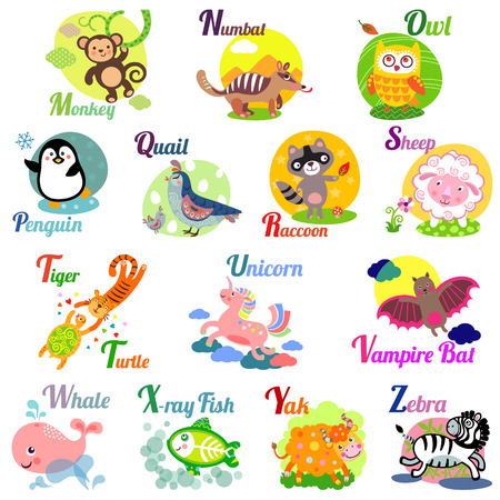Cute animal alphabet for ABC book. Vector illustration of cartoon animals. M, n, o, p, q, r, s, t, u, v, w, x, y, z letters Illustration