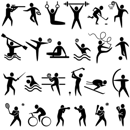 Set of sports icons black color: basketball, soccer, hockey, tennis, skiing, boxing, wrestling, cycling, golf, baseball, gymnastics, shooting, rugby, gymnastics, American football, power lifting, kayaking, canoeing, barbell, weightlifting, water polo, archery, fencing, swimming, volleyball, sports competitions. Vector illustration