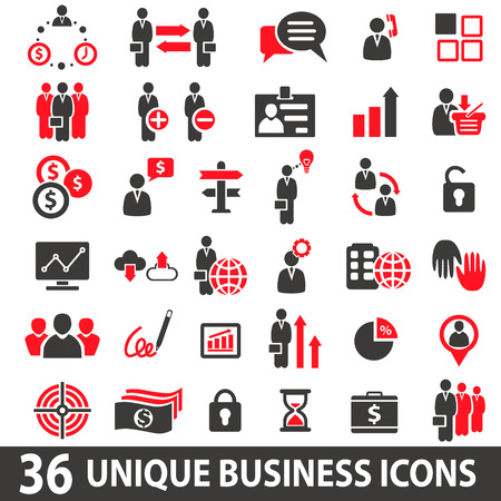 business icon: Set of 36 business icons in two colors red and dark grey. Illustration