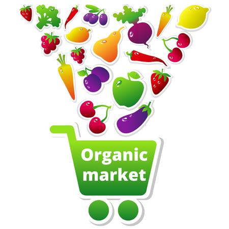 bag cartoon: Organic fruits and vegetables falling into the shopping cart. Vector illustration. Organic market