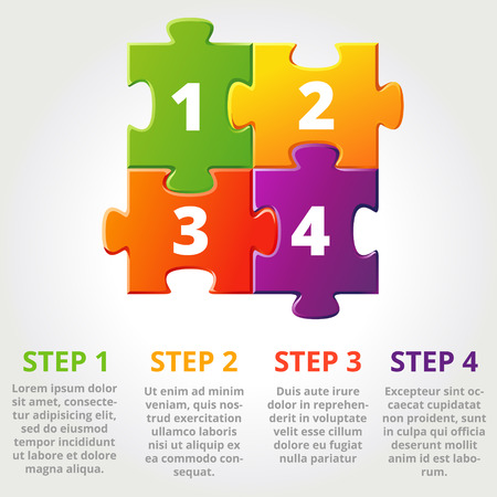 jigsaw puzzle pieces: One two three progress icons for three steps. Vector illustration Illustration