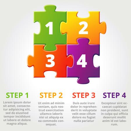 piezas de rompecabezas: Uno dos tres iconos de progreso para los tres pasos. Ilustración vectorial
