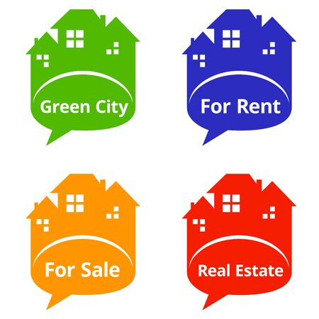 home value: Set of Real Estate speech bubbles. Vector illustration