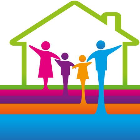 家族のロゴのコンセプト。  イラスト・ベクター素材
