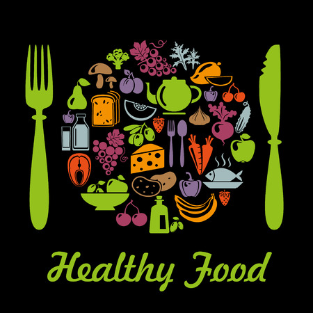 Plate shape with organic food icons. Vegetables and fruits Illustration
