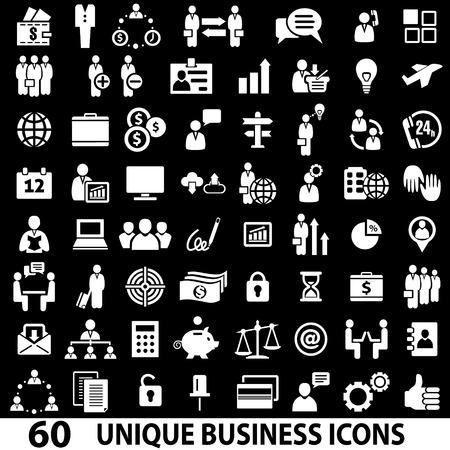 60 비즈니스 아이콘의 집합입니다. 흰색과 검은 색 일러스트