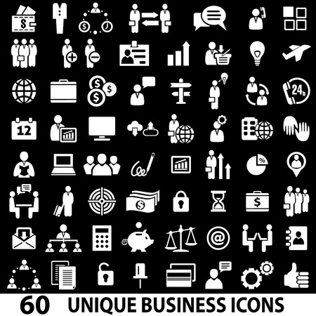 Set of 60 business icons. White and black Illustration