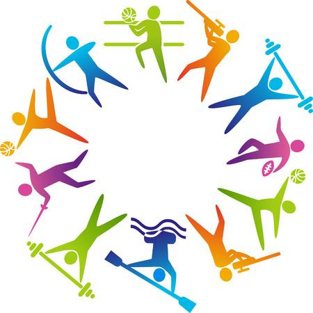 balones deportivos: Mundo del deporte. Ilustración vectorial de iconos de los deportes: el fútbol; tiro, rugby, gimnasia, fútbol americano, levantamiento de pesas, kayak, piragüismo, barbell, levantamiento de pesas, polo acuático, tiro con arco, esgrima, voleibol.