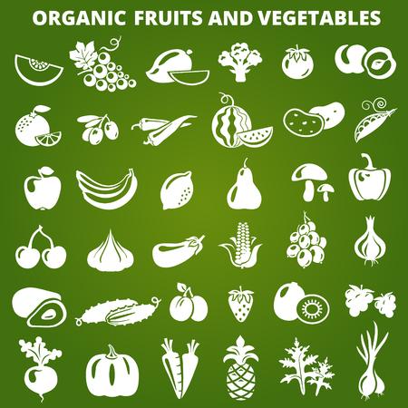 Conjunto de vehículos orgánicos y los iconos de frutas. ilustración vectorial Foto de archivo - 46372765