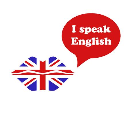 bandera inglesa: Gran Bretaña bandera lápiz labial en los labios. Hablo Inglés Vectores