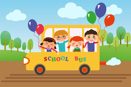 nationalities: Children of different nationalities are going to school by bus. Illustration