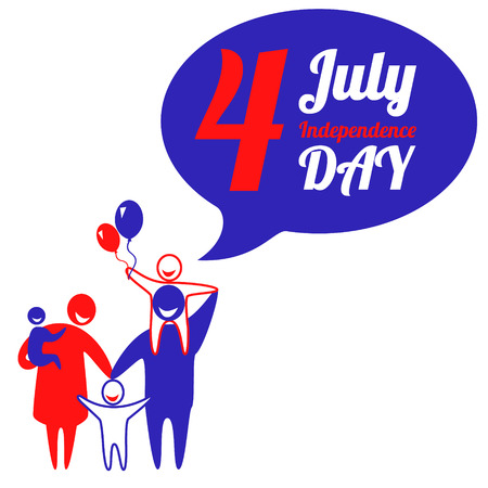 Happy family is celebrating American Independence Day. Vector illustration