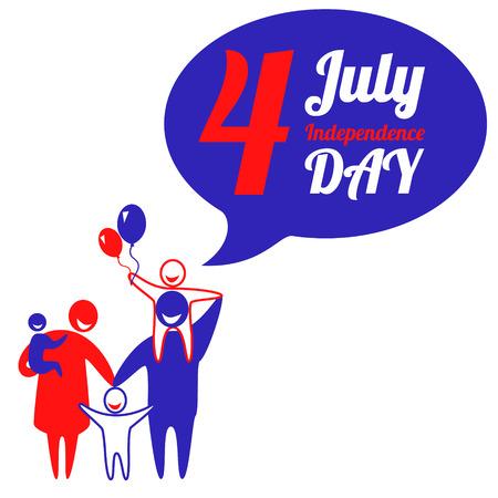 julio: La familia feliz celebra Día de la Independencia Americana. Ilustración vectorial Vectores