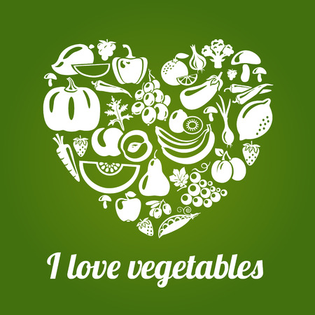 diet food: I love vegetables. Concept vector heart made of green peas, eggplant, potato, carrot, pumpkin, avocado, grapes, apple, peach, kiwi, lemon, radish, pepper, chili, garlic, strawberries, broccoli, banana and others Illustration