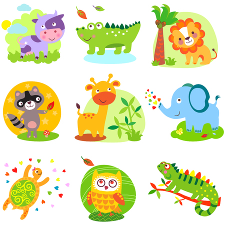 Vector illustration of cute animals: cow, crocodile, alligator, lion, raccoon, giraffe, elephant, cherpaha, owl, iguana