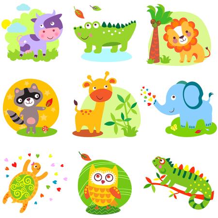 animaux du zoo: Vector illustration d'animaux mignons: vache, crocodile, alligator, le lion, le raton laveur, girafe, éléphant, cherpaha, hibou, iguane