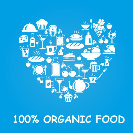 Organic food icons in heart shape. Vector illustration Vettoriali