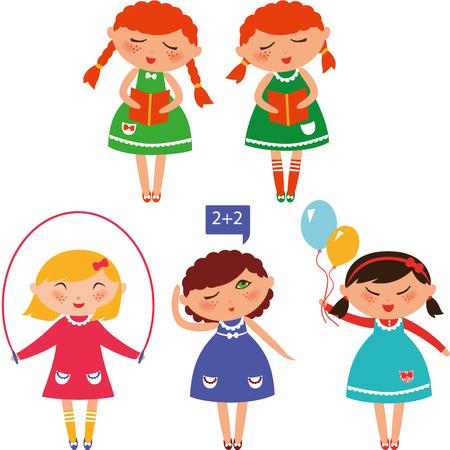 schoolgirls: Cute schoolgirls reading, jumping, counting and having fun.